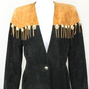 Patricia Wolf Suede Leather Fringe Jacket